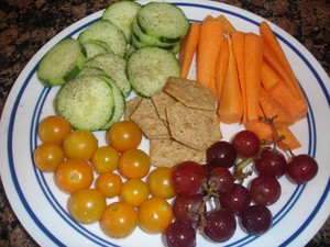 fruit, veggies and crackers