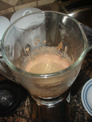 Almond-Joy-Protein-Shake-mixed-with-Spinach