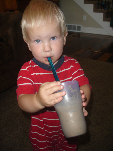 Baby-with-Almond-Joy-Protein-Shake