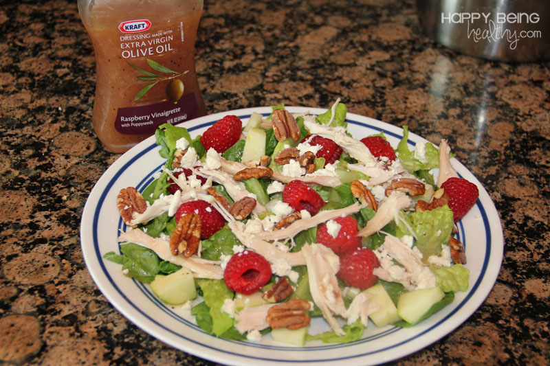 Apple Raspberry Pecan Chicken Salad | Happy Being Healthy
