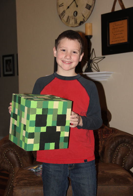derek with his creeper box - How To Make Valentine Boxes
