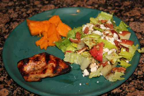 Grilled chicken sweet potatoes salad