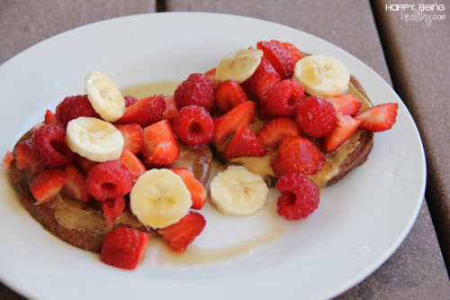 Chocolate Protein Pancakes with fruit