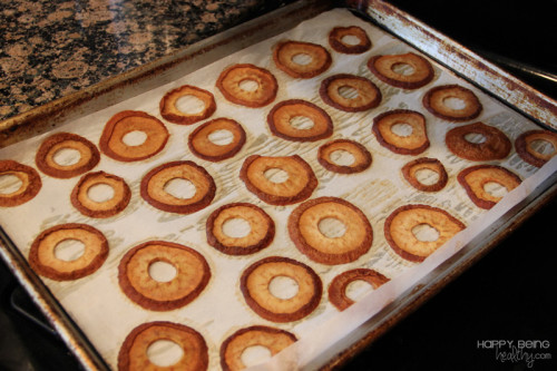 Dried pears in oven