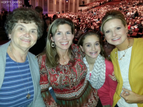 My mom, sister, niece and I at the Conference Center in Salt Lake City for a Scout program