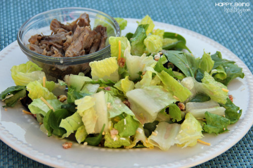 Big salad with roast beef on the side