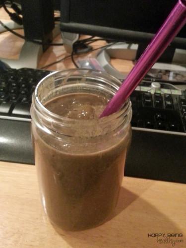 Yummy fruity chocolate almond protein shake