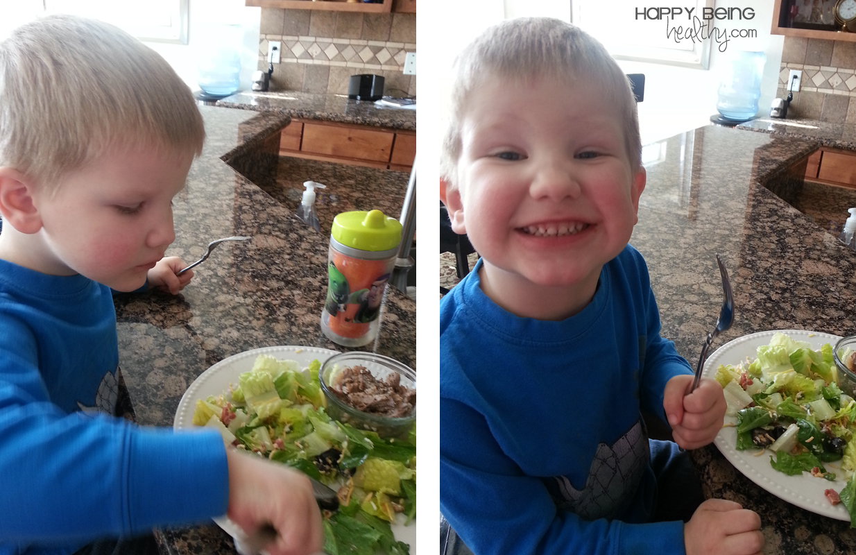 My son eating my salad and roast beef for lunch