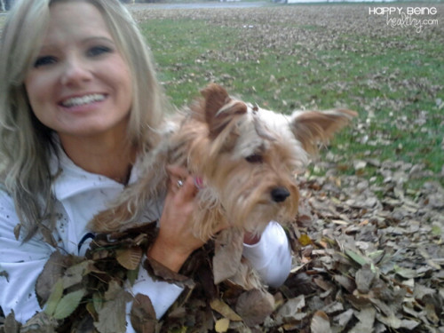 Me and Jimmer the dog in the leaves