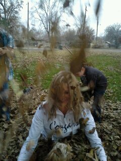 Me and the kids playing in the leaves