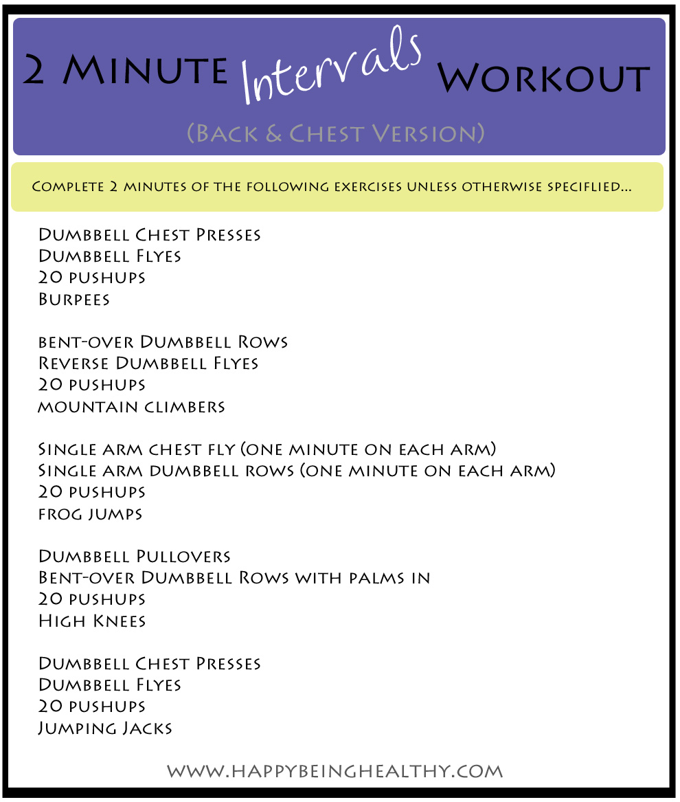 2 Minute Intervals Workout Back And Chest