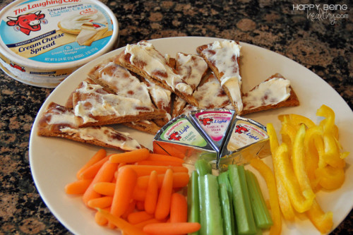 Laughing Cow cheese, pita chips and veggies