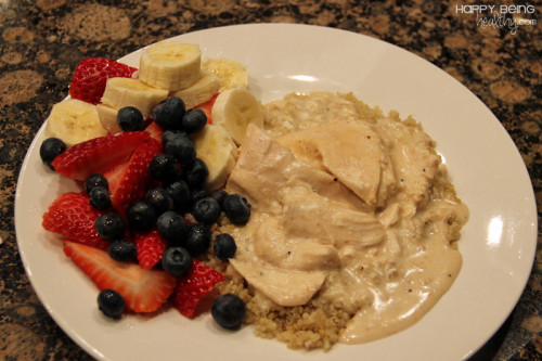 Quinoa, Fall Apart Chicken and Fruit