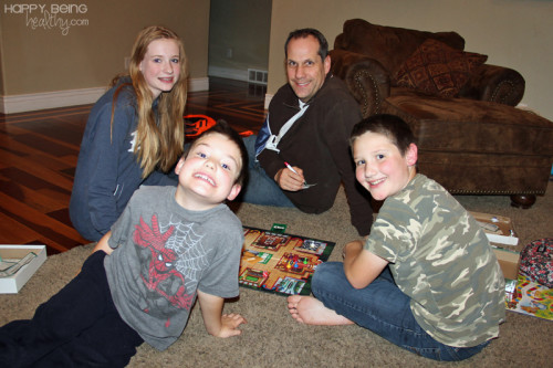 Kev and the kids playing Clue