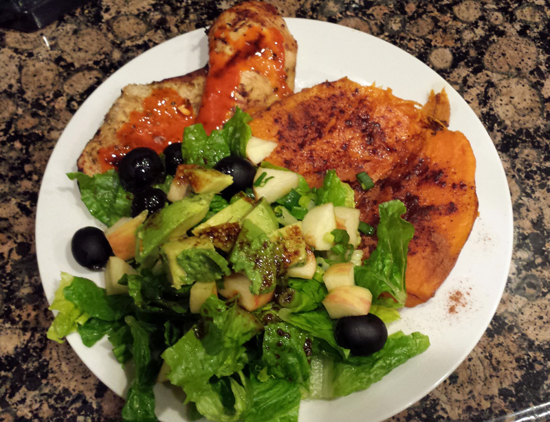 Chicken, sweet potato and salad