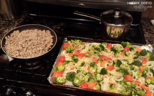 Food prep ground turkey, eggs and veggies