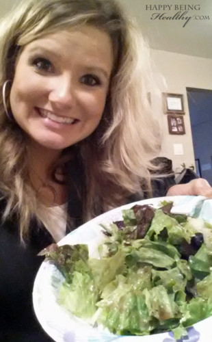 Me with my salad up at my mom's house