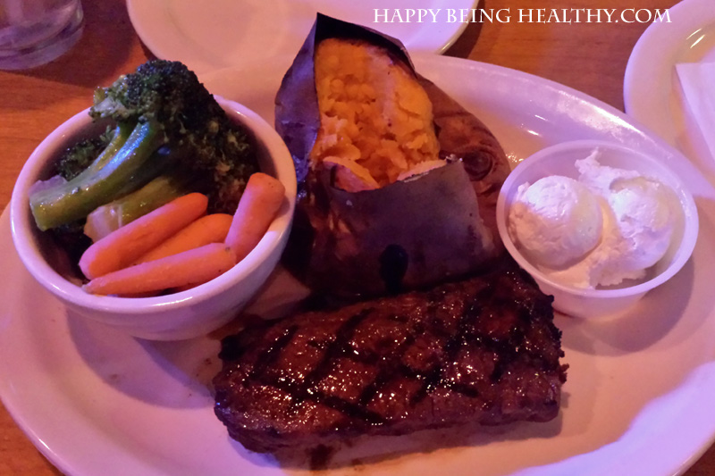 My steak, sweet potato and veggies from Texas Roadhouse