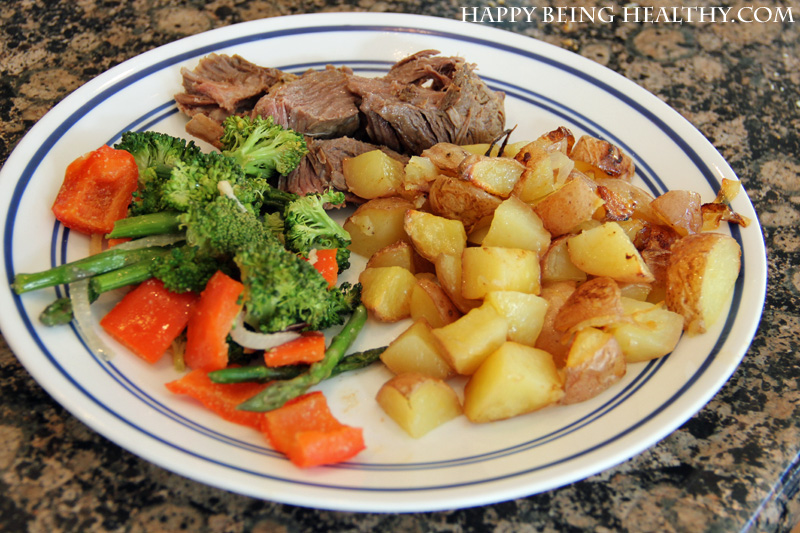 Roasted Potatoes with veggies and roast