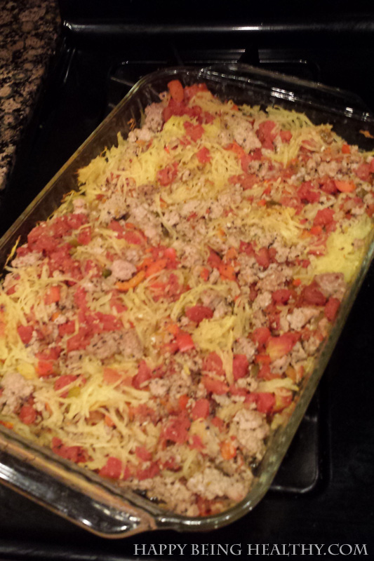 Spaghetti squash casserole creation