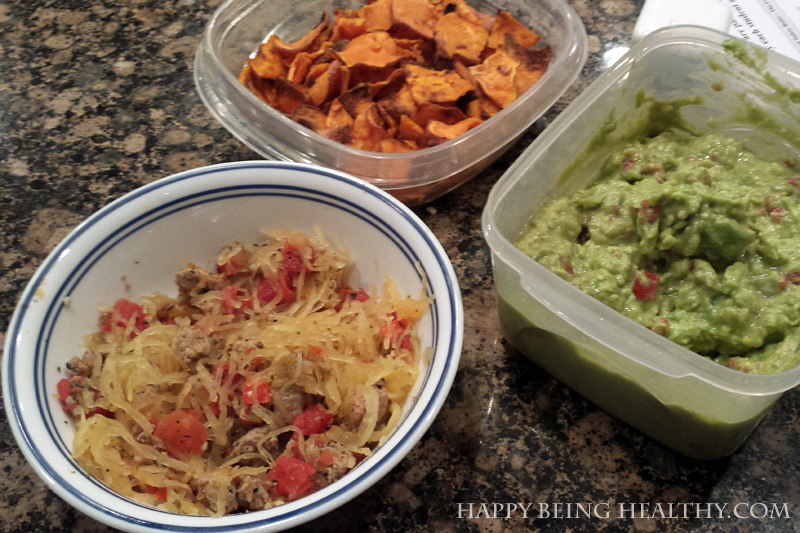 Spaghetti squash casserole with sweet potato chips and guac