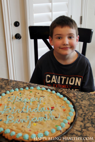 B with his giant birthday cookie