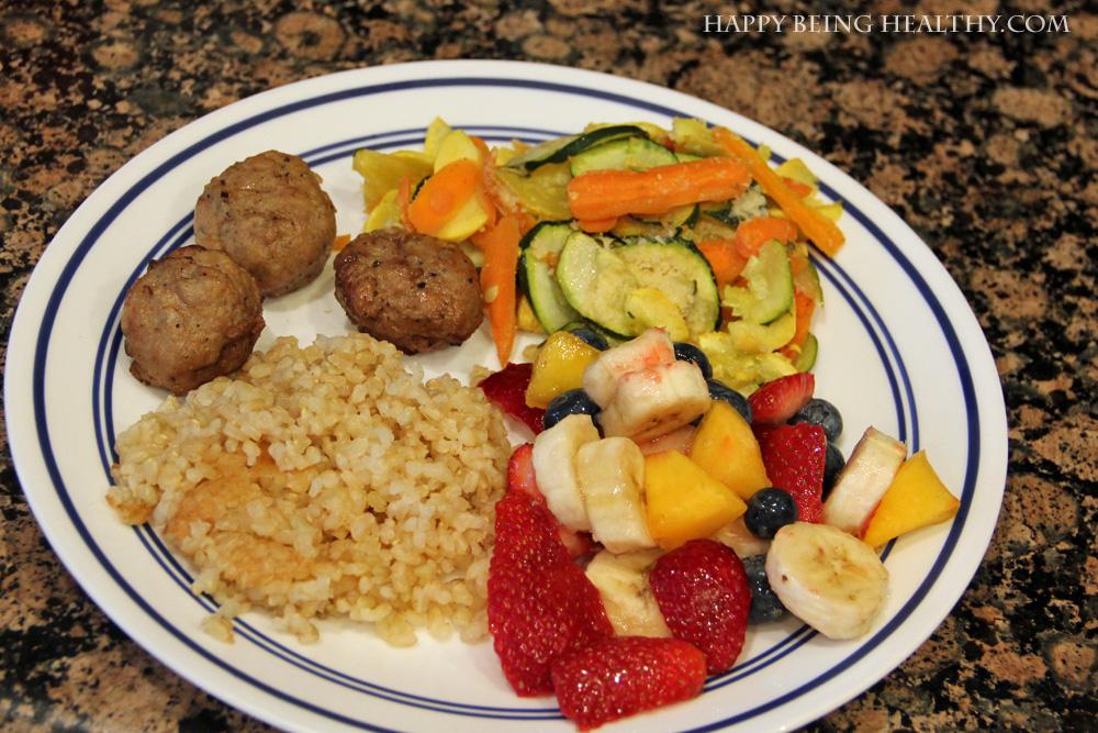 My Meatball Fruit Veggie Dinner Plate