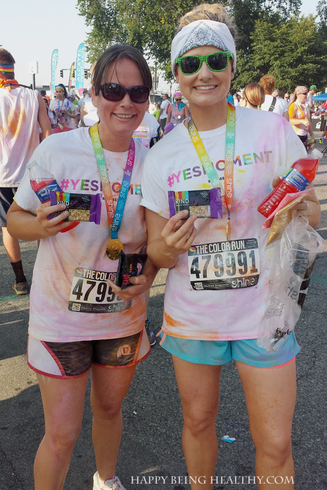 Mel and I after The Color Run with our KIND bars and Crystal Light drops