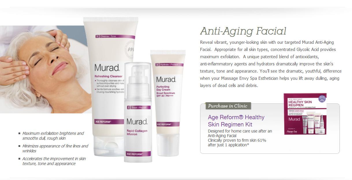 Massage Envy Murad Anti Aging info