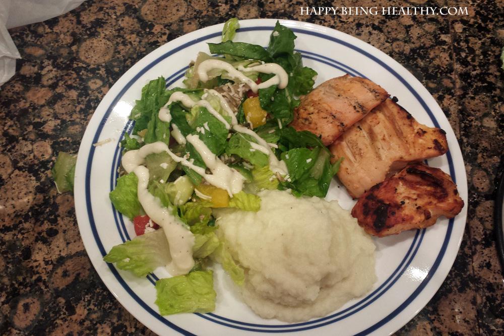 My chicken, cauliflower and salad dinner