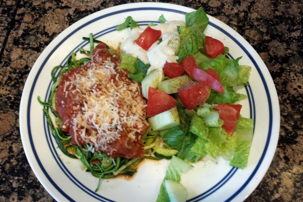 Zuchinni Noodles with meat sauce and salad