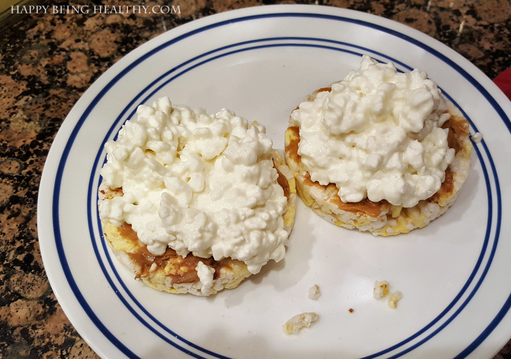 My rice cakes with cottage cheese for dinner