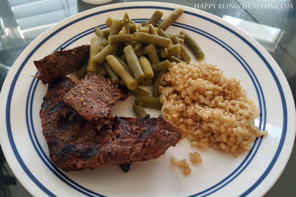 My steak, rice and beans for dinner