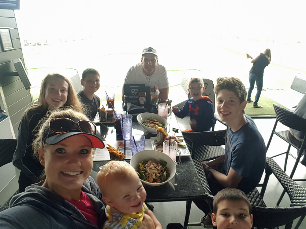 Eating lunch at Top Golf - Copy