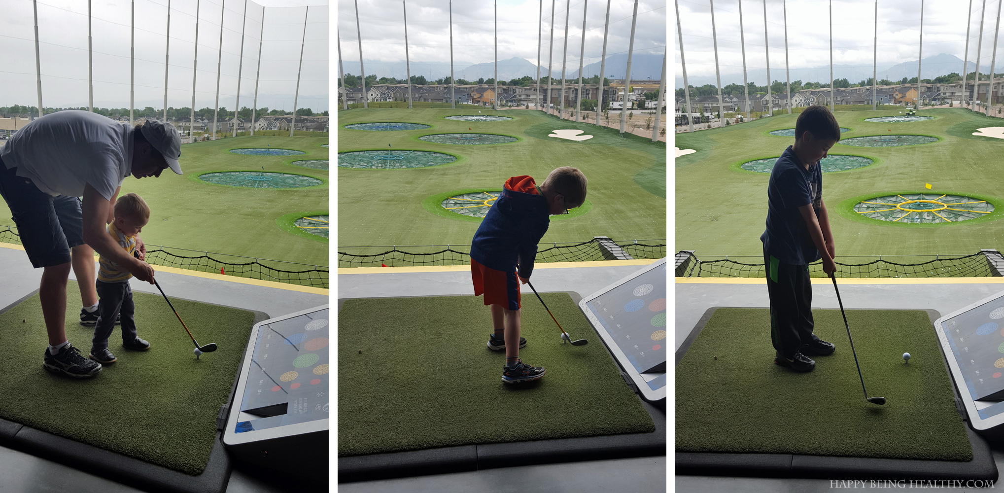 The kids golfing at Top Golf - Copy