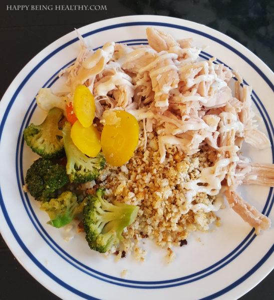 Yummy Cauliflower rice, veggies and chicken
