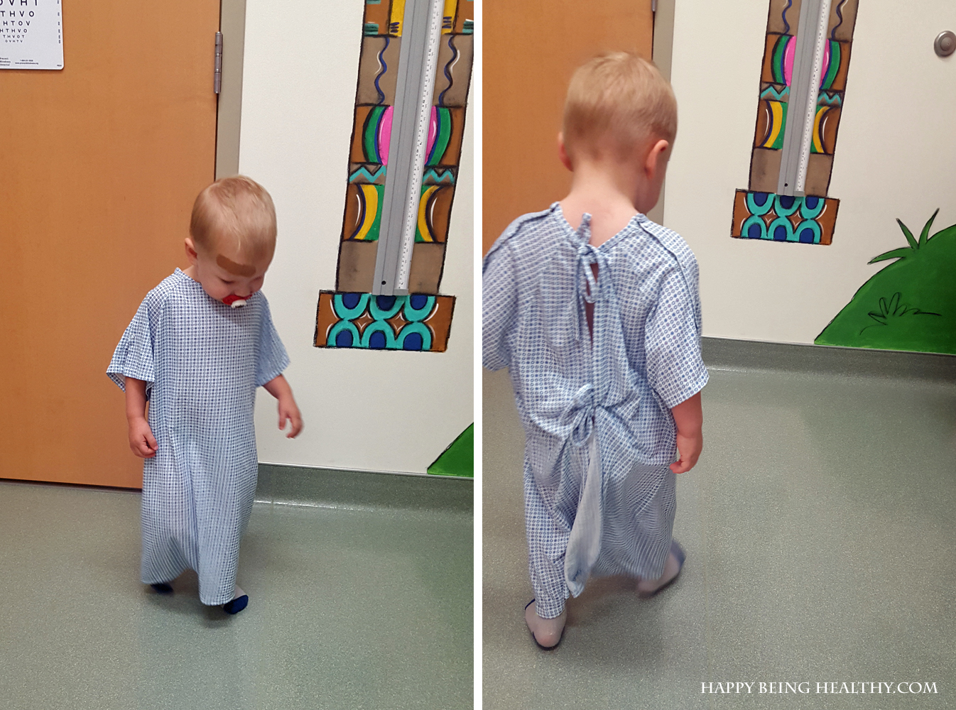 C in his 2 year old check up gown